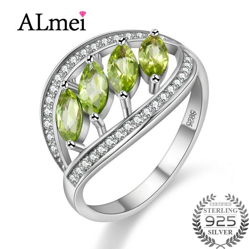 Almei New Peridot Citrine Sapphire Wedding Ring Pendant 925 Sterling Silver Women Fine Jewelry with Box for Dropshipping 0% off