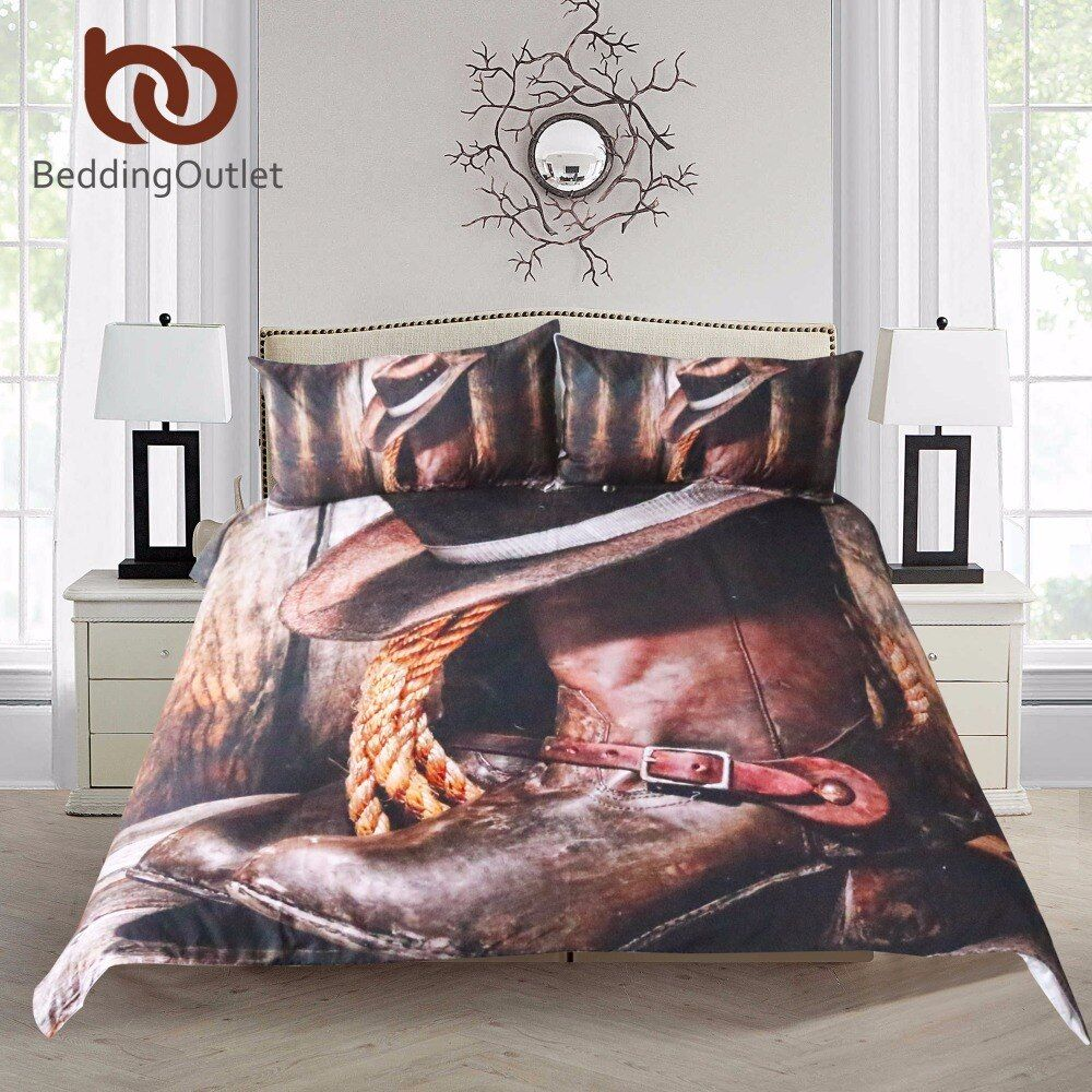 BeddingOutlet Cool Western Cowboy Bedding Set Hat On The Boots Duvet Cover Set with Pillowcases Super Soft Bedclothes 3 Pieces