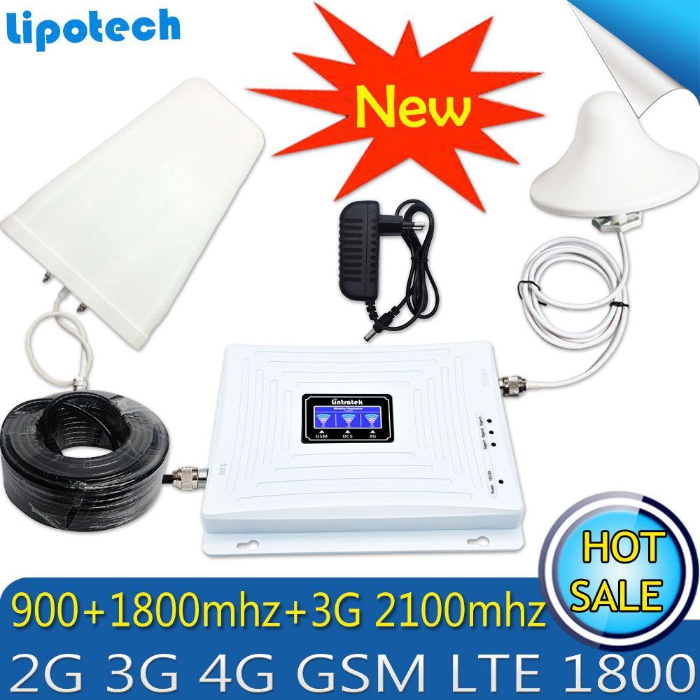 Lintratek Tri Band Amplifier 900 1800 2100 GSM DCS WCDMA 2G 3G 4G LTE Signal Booster 900/1800/2100 Cellphone <font><b>Cellular</b></font> Repeater