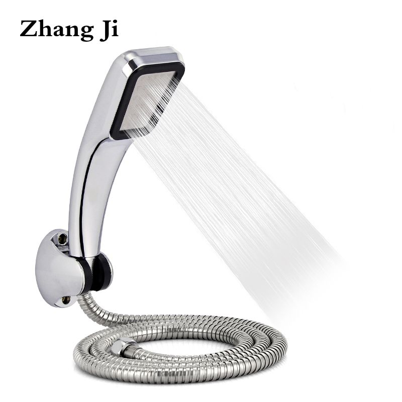 Bathromm Chrome 300 Holes ABS Shower Head Set With Holder And Hose Rainfall High Pressure Shower Head Water Saving ZJ021