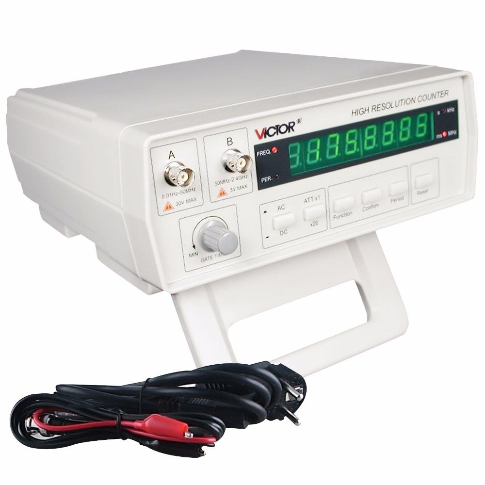 Professional VC3165 Precision Frequency Counter Meter Tester 0.01Hz~ 2.4GHz 110V 2 Input Channels AC/DC coupling 8-digit LED