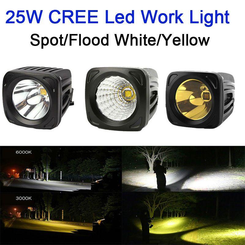 25W carré LED lumière de travail 12V 24V Spot lampe d'inondation jaune 3000k blanc pour 4x4 Offroad ATV camion conduite antibrouillard lumière externe