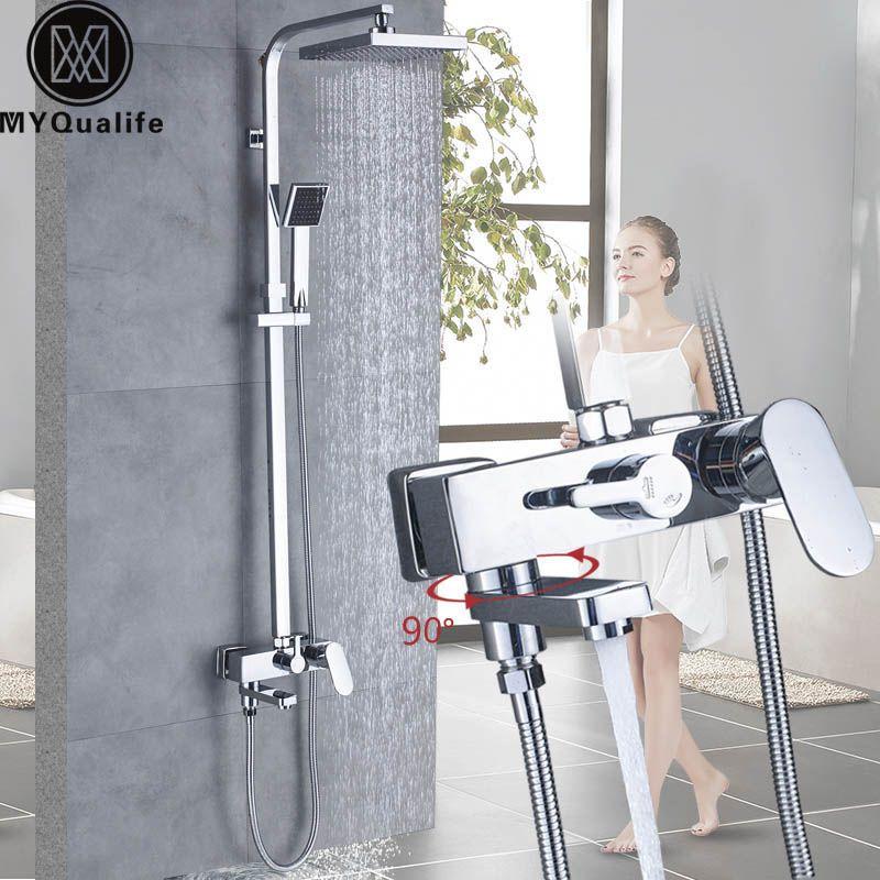 Chrome Bath Shower Faucets Set Bathtub Mixer Faucet Rainfall Shower Tap Bathroom Squrae Shower Head Exposed Shower Mixer Tap