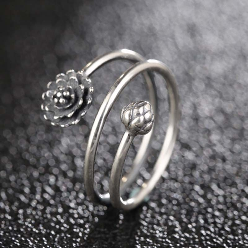 925 Sterling Silver Lotus Open Cuff Rings for Women Girls 3D Multi-layer Flower Adjustable Ring Open Party Jewelry Gifts