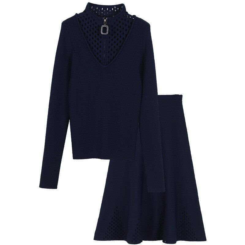 SRUILEE Brand Design Outfit 2 Piece Set Women Suit Hollow Out Knit Top Sweater And A-Line Skirt Haute Couture Official Suit S864