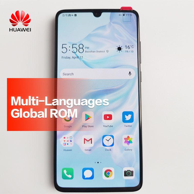 Globale ROM HUAWEI P30 Handy Volle Bildschirm Unterstützung NFC OTA update Smartphone 3650 mAh Octa Core Android Bar 40MP + 16MP + 8MP