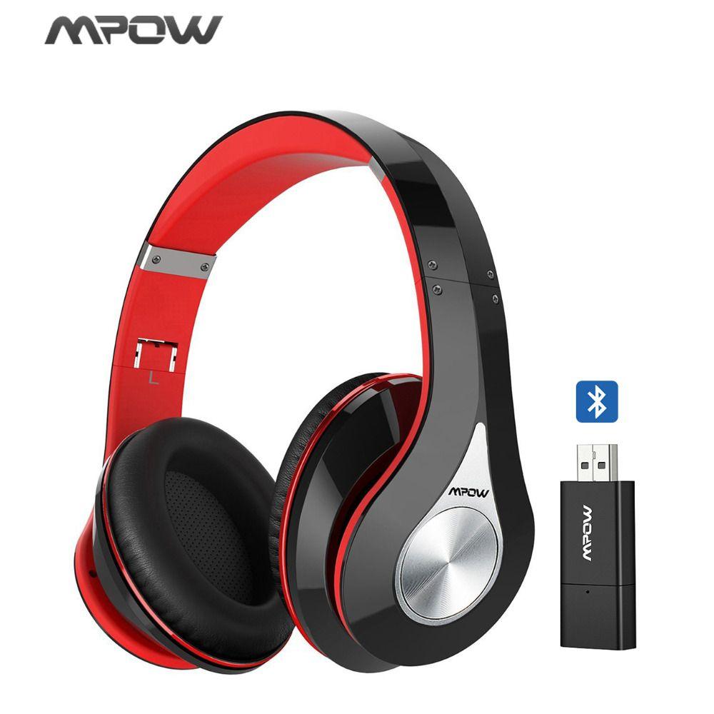 Original Hi-Fi Stereo Mpow 059 Wireless Bluetooth Headphones With Mic+Bluetooth Transmitter+EVA Bag/Case For PC TV Phone Tablet