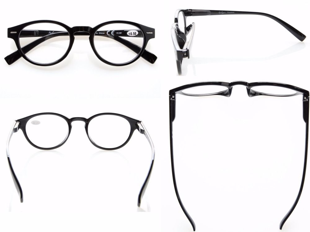 Retro Key Hole Oval Round Readers Spring-Hinges Reading Glasses LX07-25