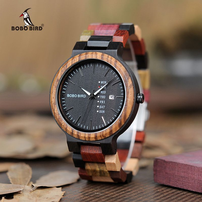 BOBO BIRD Luxury Designer Auto Date Colors Wooden Watches for Men Handmade Quartz Wrist Wristwatches relogio masculino C-P14- 1