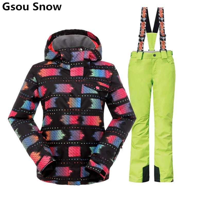 Gsou Snow winter ski suit women female skiwear snowboard jackets and pants skiing clothing snowsuits set large size