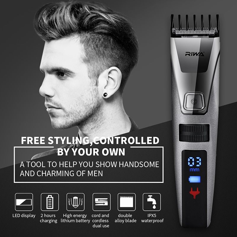 RIWA LCD Display Hair Trimmer Hairdresser Rechargeable Hair Clipper Professional Fast charging Electric Haircut Kit 100-240V S34