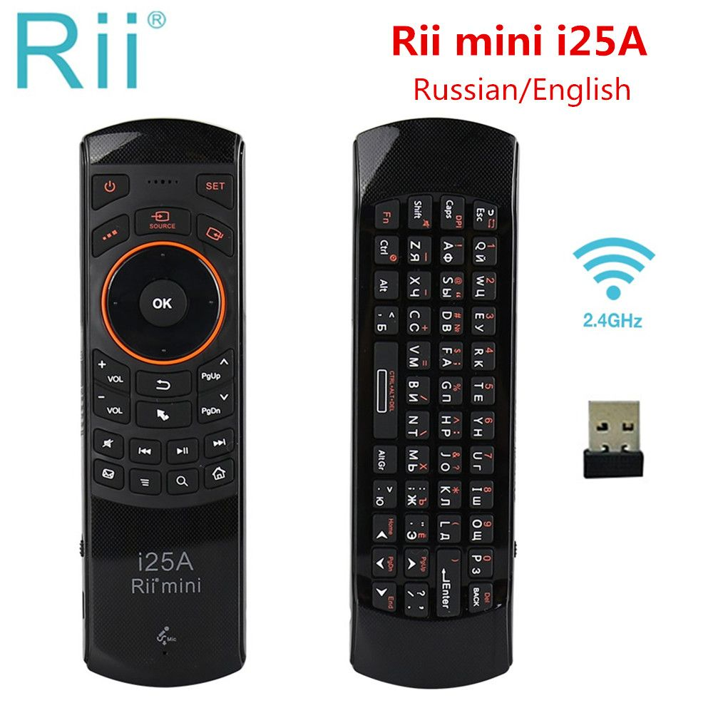 Rii i25A Mini 2.4G Sans Fil Fly Air mouse Russe Anglais Clavier Avec Des Écouteurs Jack Pour Android TV À Distance TV BOÎTE