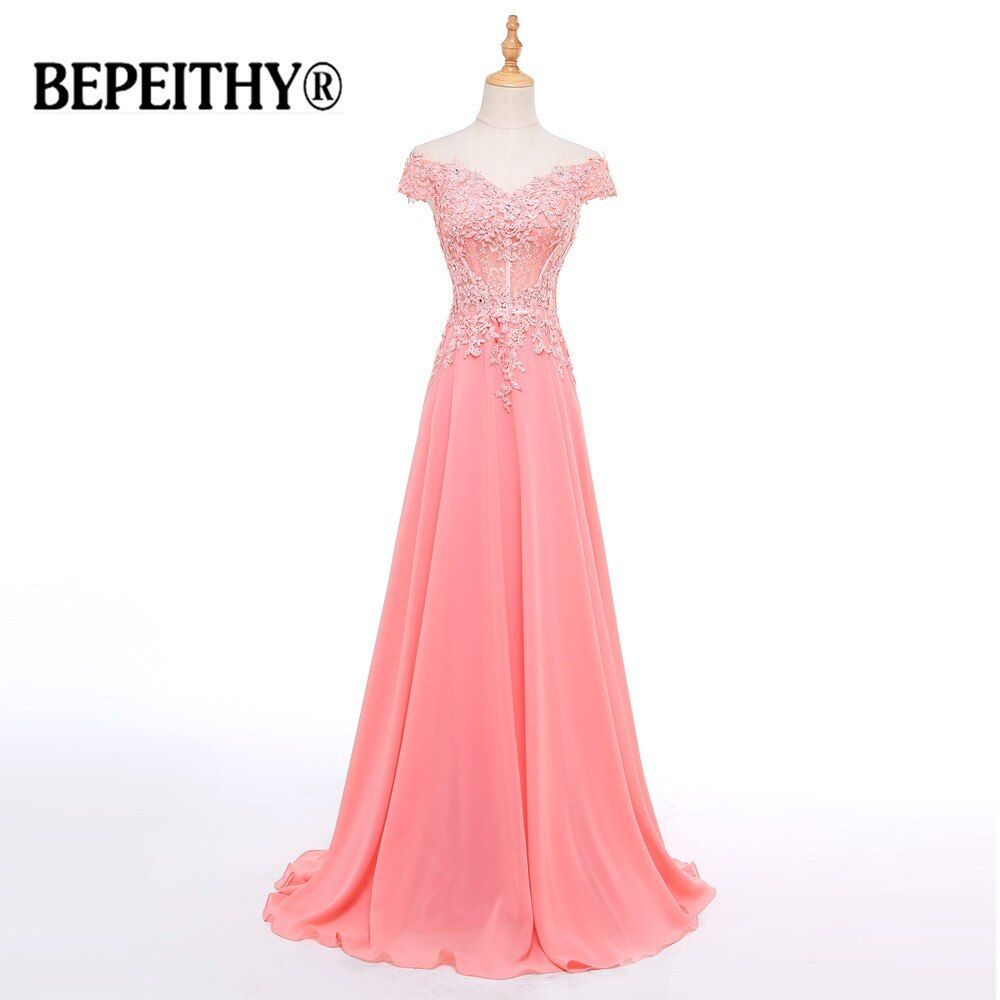 Robe De Soiree Pretty Cap Sleeve Off The Shouler Formal Evening Dress 2017 Pink Appliques Chiffon Long Prom Dresses Real Photo