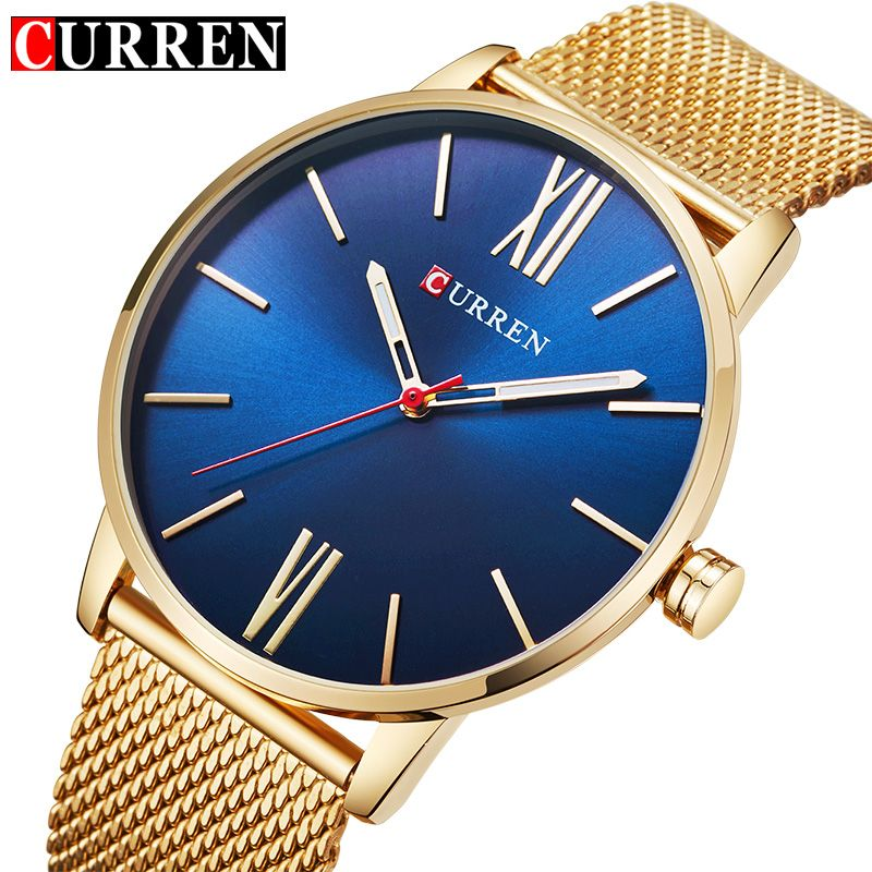 CURREN Luxury Brand Quartz Watch Men's Gold Casual Business Stainless Steel Mesh band Quartz-Watch Fashion Thin Clock male