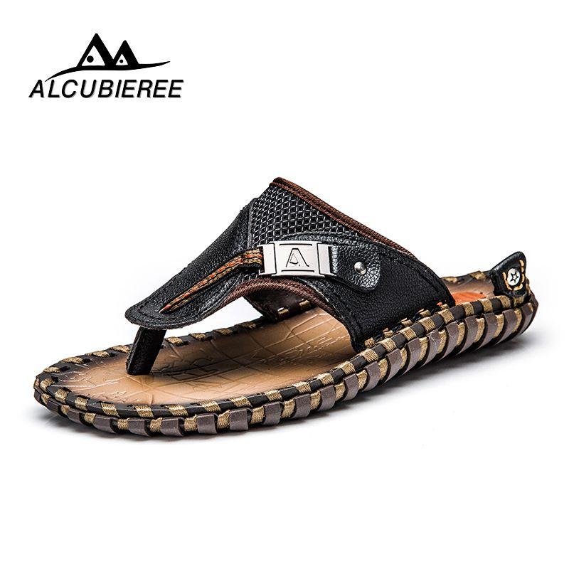 ALCUBIEREE marque hommes chaussures décontractées en cuir véritable sandales hommes tongs reniflard pantoufles grande taille été Sapato Masculino