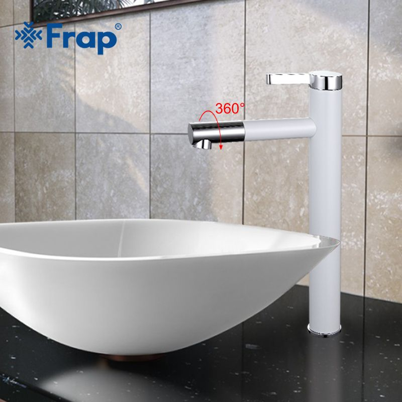 Frap New White Spray high sink Faucet Bathroom Fitting Crane 360 Free-Rotating Single Hot and Cold Basin Faucet tap F1052-15
