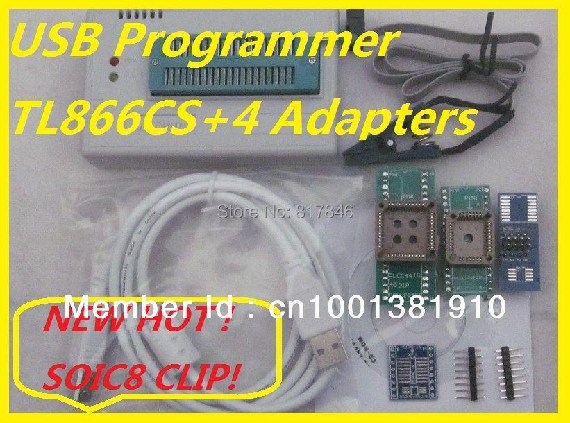 Freies Verschiffen Russische Software SOIC8 IC Clip V6.6 100% original TL866CS EEPROM PIC AVR BIOS USB Universal Programmer + 4 adapter