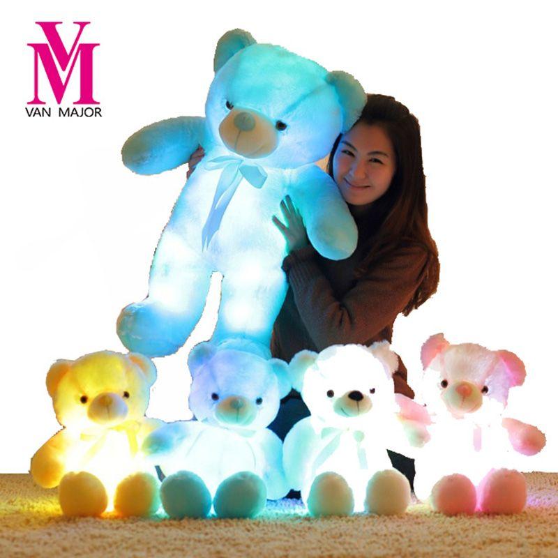 50 CM Creative Light Up LED Inductive Teddy Ours En Peluche Animaux En Peluche Jouet Coloré Lumineux Ours en peluche De Noël Cadeau pour enfants