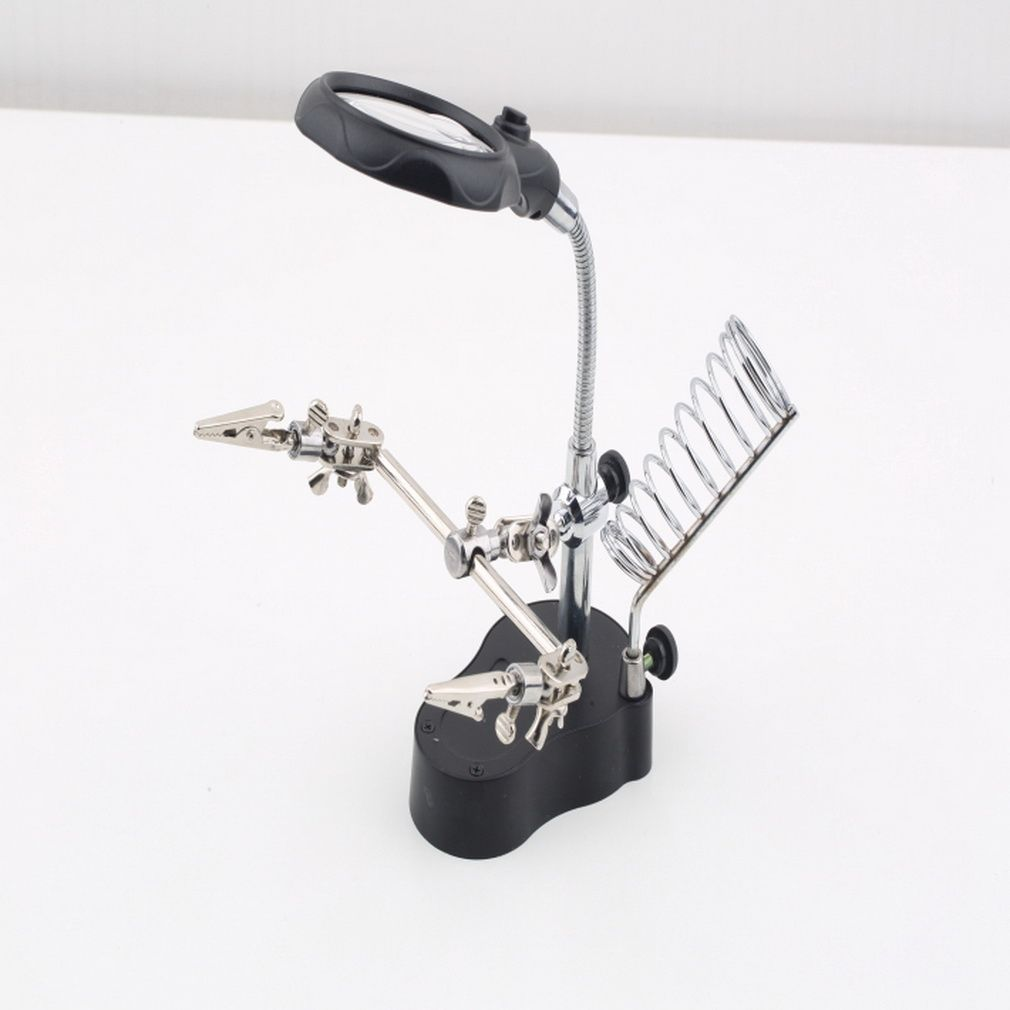 По всему миру 3.5x12X 3rd Рука помощи Клип светодиодная увеличительное паяльник Стенд Len Лупа