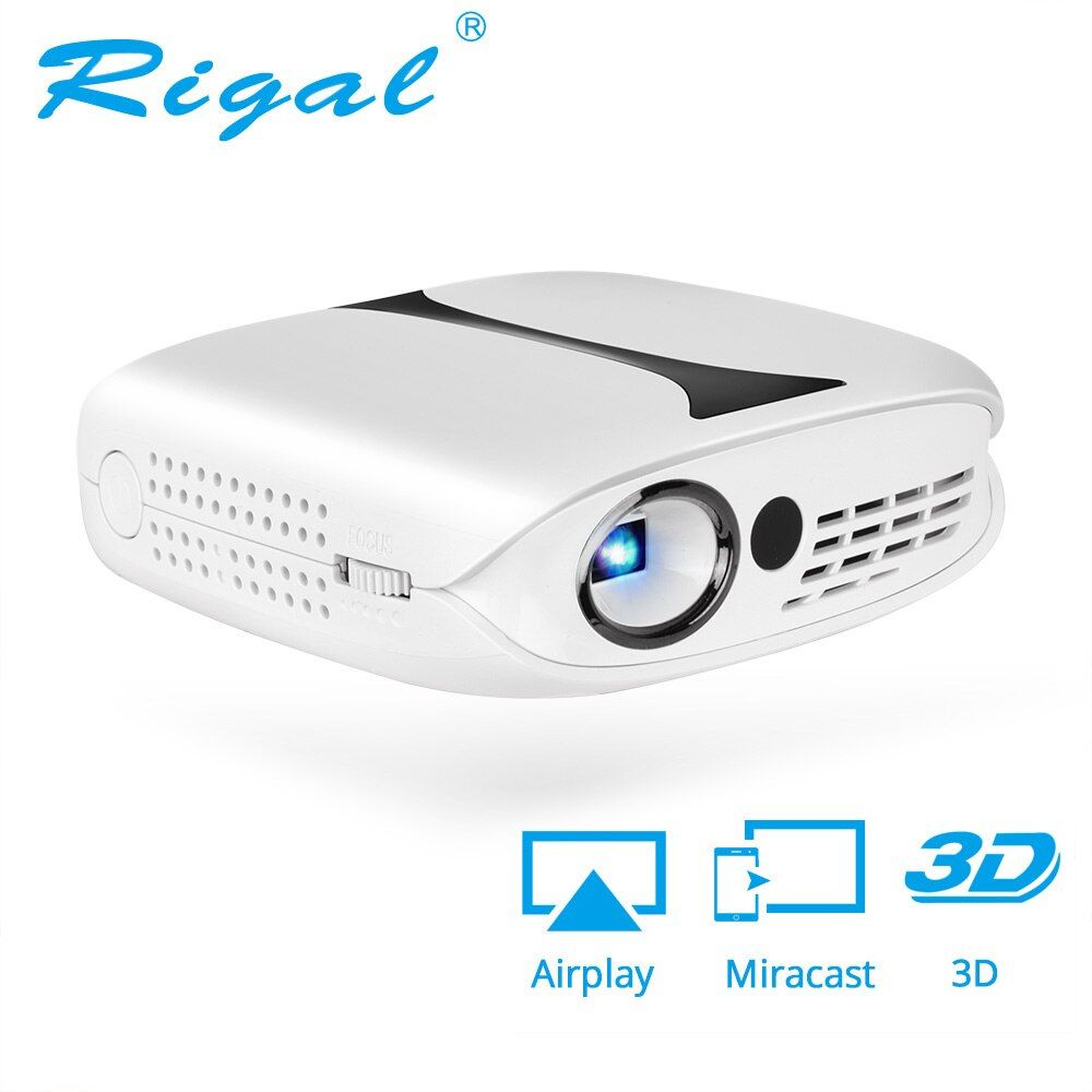 Rigal RD606 Mini LED DLP Projector HD Portable WiFi Multi Screen Pocket Pico Projector Miracast Airplay Battery Active 3D Beamer