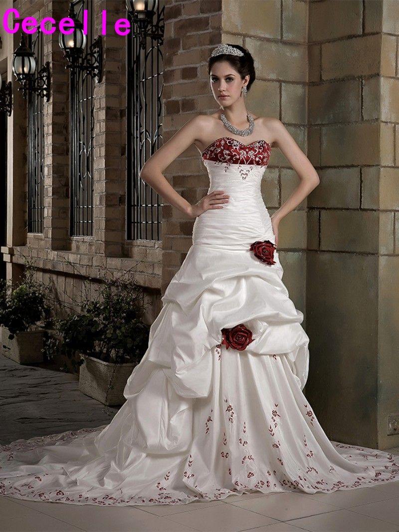 Vintage White And Red Wedding Dresses With Color High End Colorful Strapless Vintage Embroidery Bridal Gowns 2017 Robe De Mariee