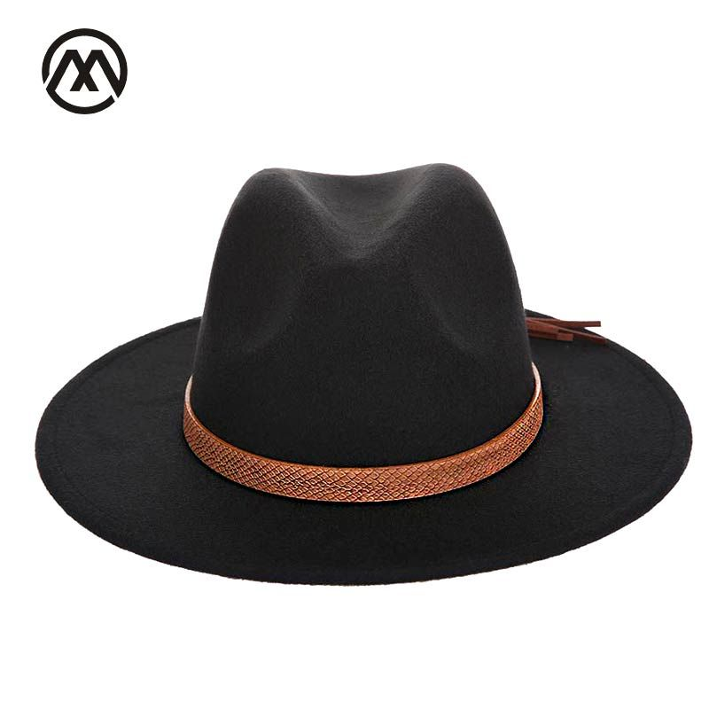 Autumn and winter men's fedora hat classical sombrero hairy headscarf imitation wool cap sunshade boys high quality hats bone