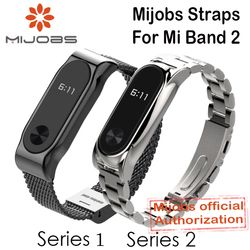 Mijobs Metal Strap For Xiaomi Mi Band 2 Straps Screwless Stainless Steel Bracelet Wristband Replace Accessories For Mi Band 2