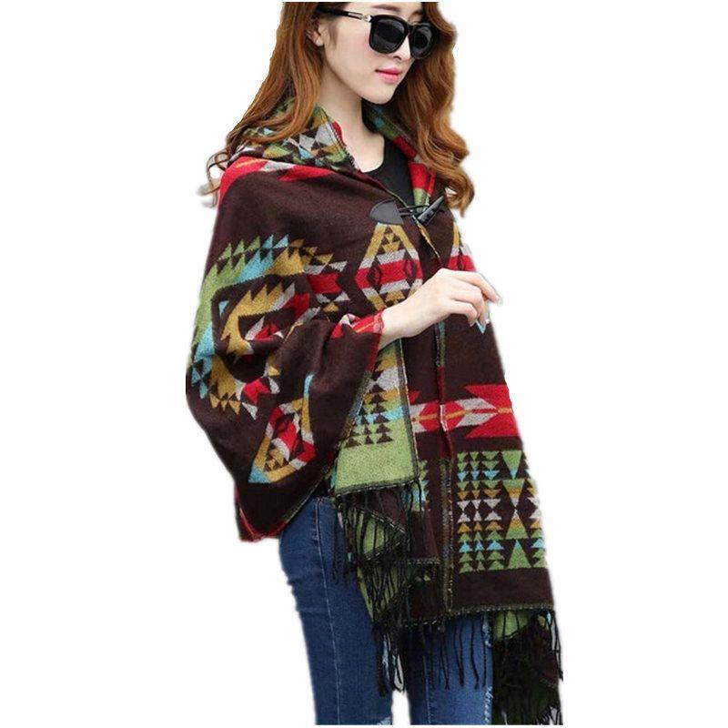 2019 dames chaud hiver à capuche Wrap Poncho laine foulards Capes nouveaux Ponchos et Capes aztèques Outwear Casacos Femininos