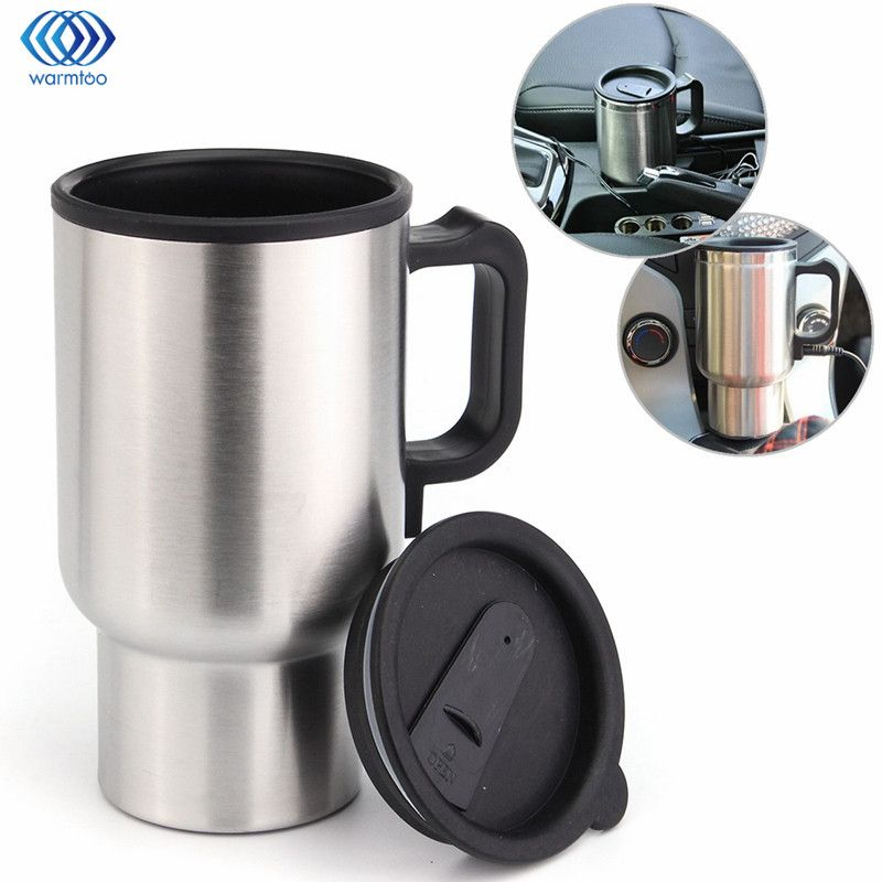 Car Hot Kettle 450ml Vehicle Mounted Thermal Travel Cup Handy Cup thermostat Bottle Coffee Heated Mug Water Heater 12V