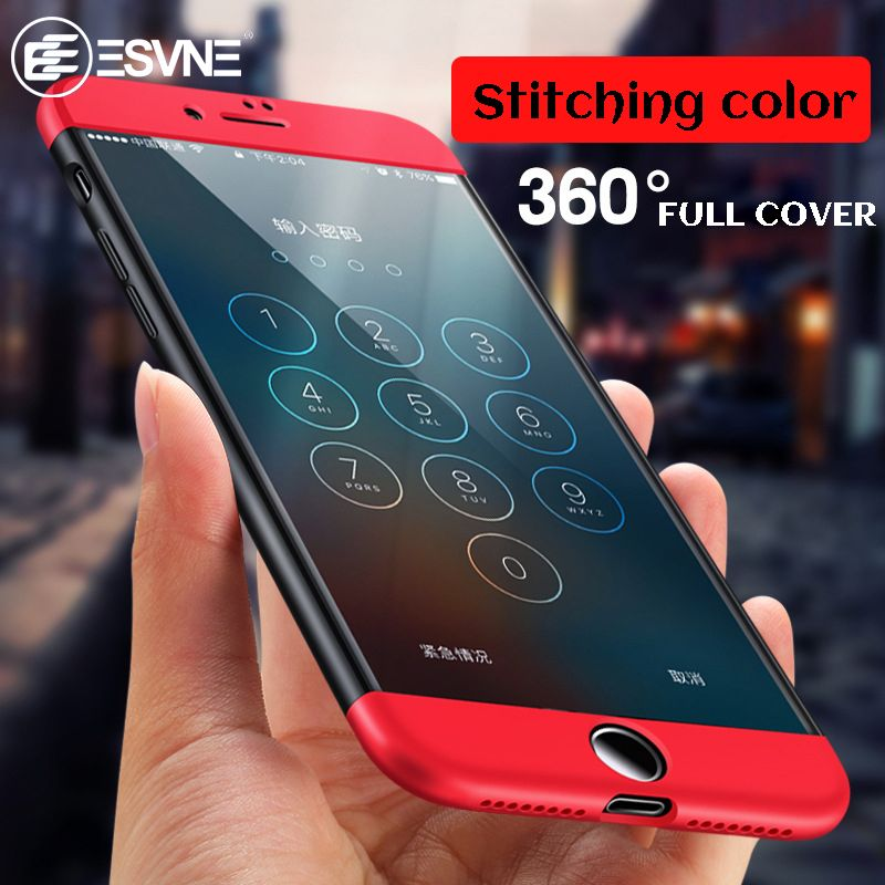 ESVNE 360 Degree Full Cover Protection Case for iphone 6 6s plus Phone case bag for iphone 7 plus