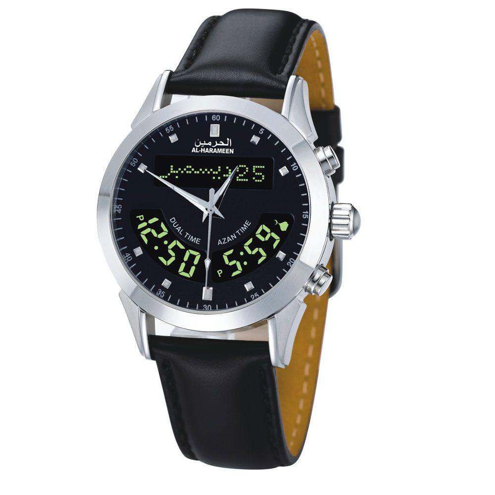 AL Harameen 100% Neue Herkunft Azan Muslimischen Gebet Azan Uhr 6102 Schwarz lederband Wriste Uhr Islamischen Geschenk Paket 1 stücke
