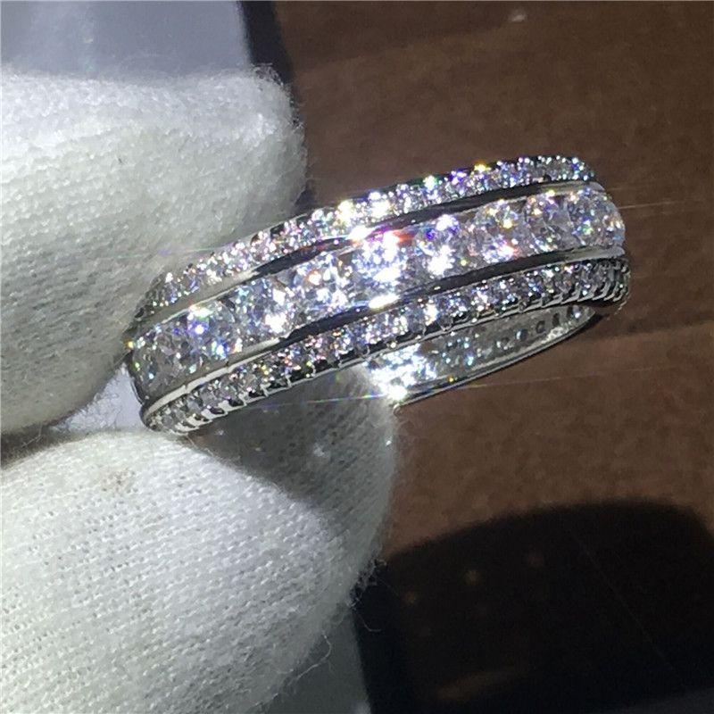 Новинка 2017 года Для женщин Мода Полный Круглый Diamonique Циркон 925 серебро Обручение обручальное кольцо для Для женщин jewelry Размеры 5–10