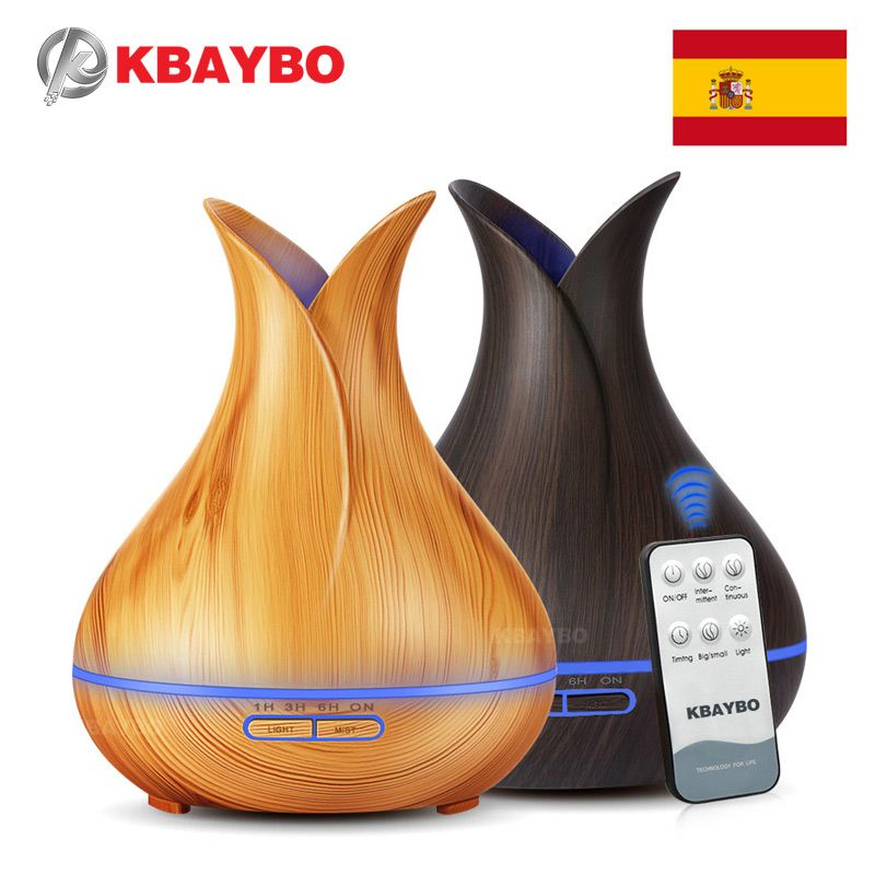 400ML Remote Control Ultrasonic Wood Grain Humidifier Aromatherapy Aroma Essential Oil Diffuser for Home Bedroom Baby