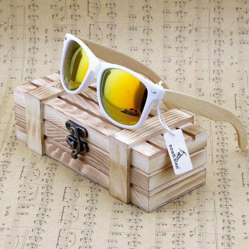 Rectangulaire Véritable Bambou Bois Lunettes de Soleil Polarisées Avec Miroir Réfléchissant Teinte gafas de sol