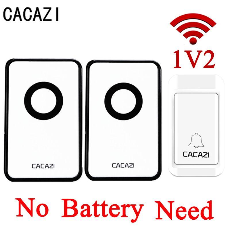 CACAZI NEW No Battery Self Powered Wireless DoorBell Waterproof Door Bell AC220V 120M Remote EU US Plug 3 Volume Home Door Bell
