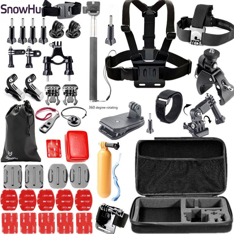 SnowHu for Gopro Accessories set for go pro hero 6 5 4 3 kit mount for xiaomi for yi 4k for eken h9 for SJCAM for SJ4000 GS02