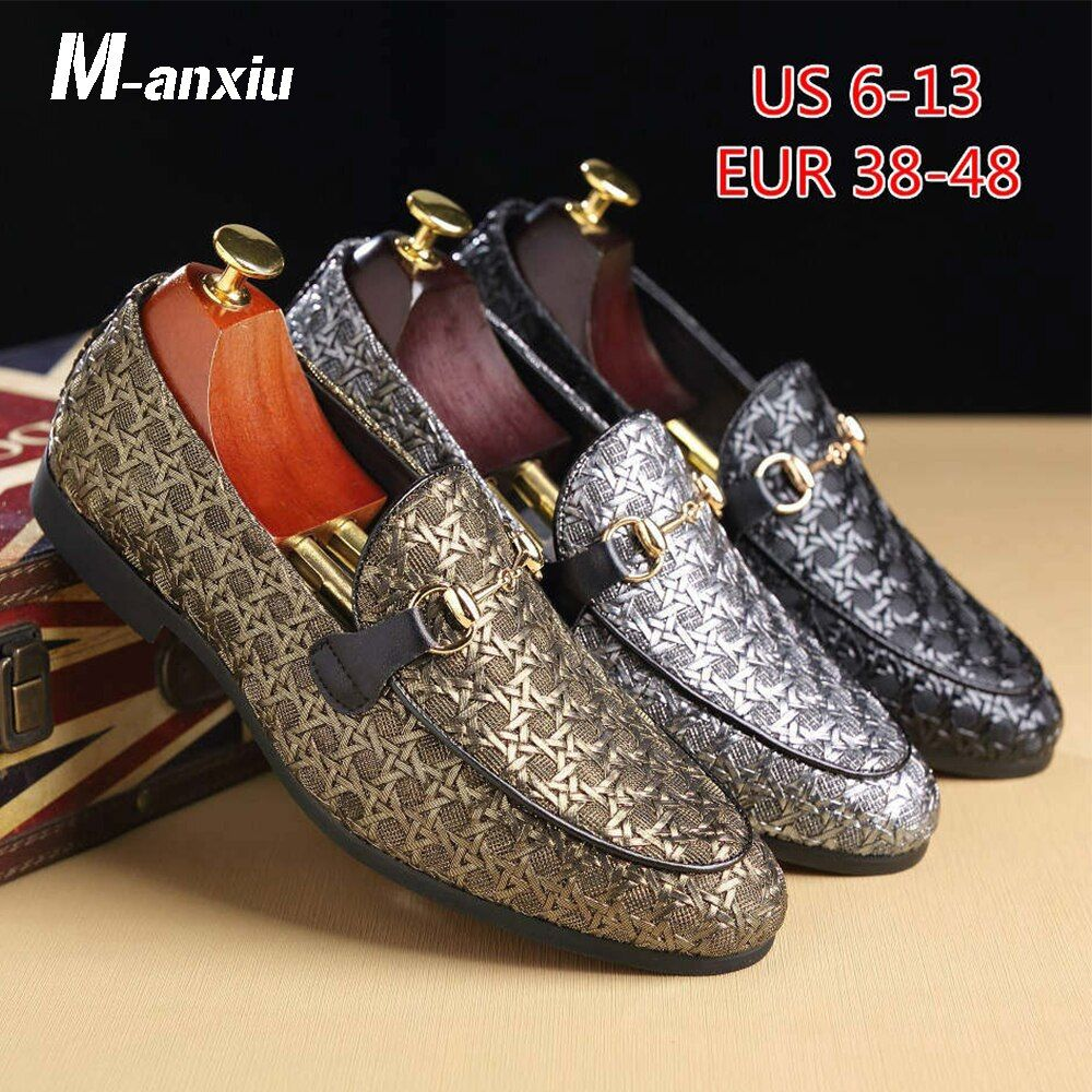 M-anxiu Men Fashion <font><b>Bright</b></font> Wedding Shoes Casual Loafer Flat Shoes Leather Classic Doug Shoes Business Pointed Toe Club Shoes