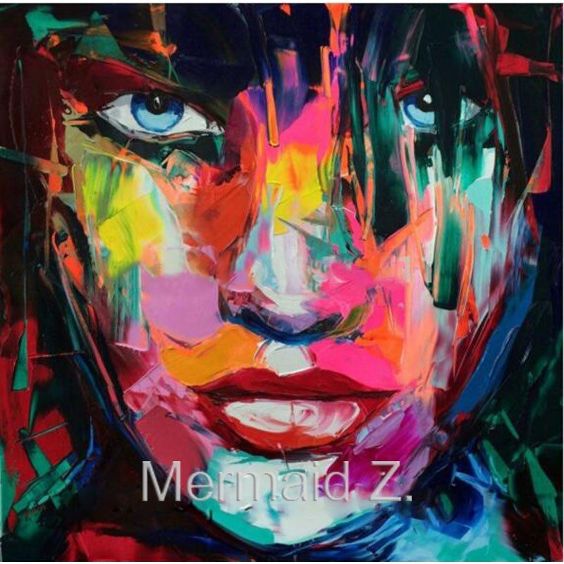 High quality Handpainted Francoise Nielly cooling face palette knife painting portrait abstract oil painting impasto on canvas