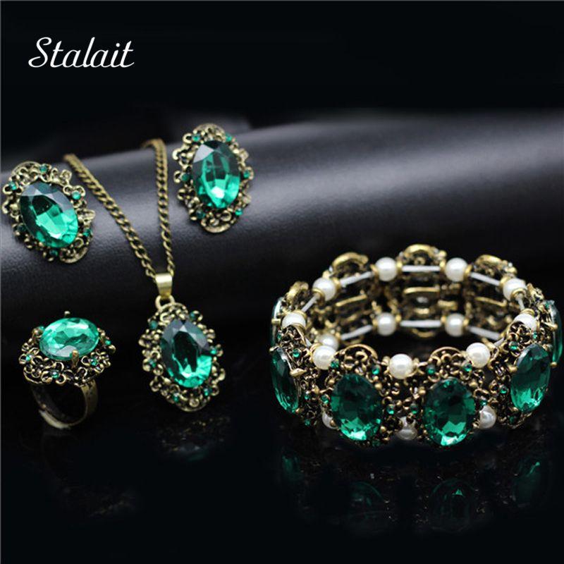 Mode De Mariage De Mariée Bijoux Ensembles Vert Cristal Antique Bronze Couleur Ensemble de Bijoux Collier Boucles D'oreilles Bracelet Anneaux