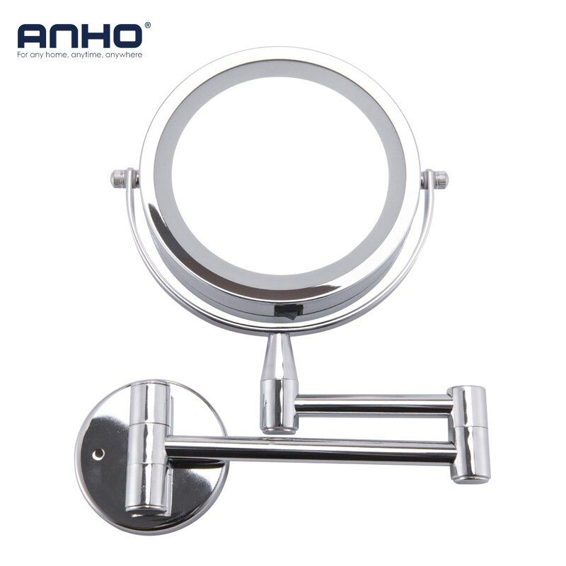 Bath Mirror Led Cosmetic Mirror 1X/3X Magnification Wall Mounted Adjustable Makeup Mirror Dual Arm Extend 2-Face Bathroom Mirror