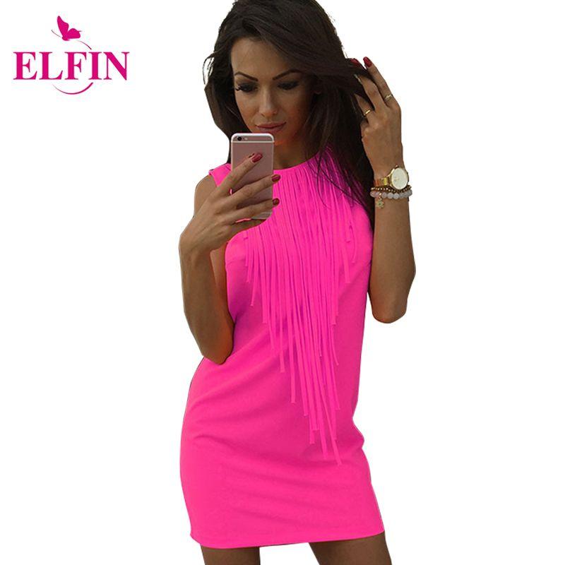 Sexy femmes robe gland couleur fluorescente été tenue décontractée sans manches Slim Fit Mini robe dame Vestidos LJ4898R
