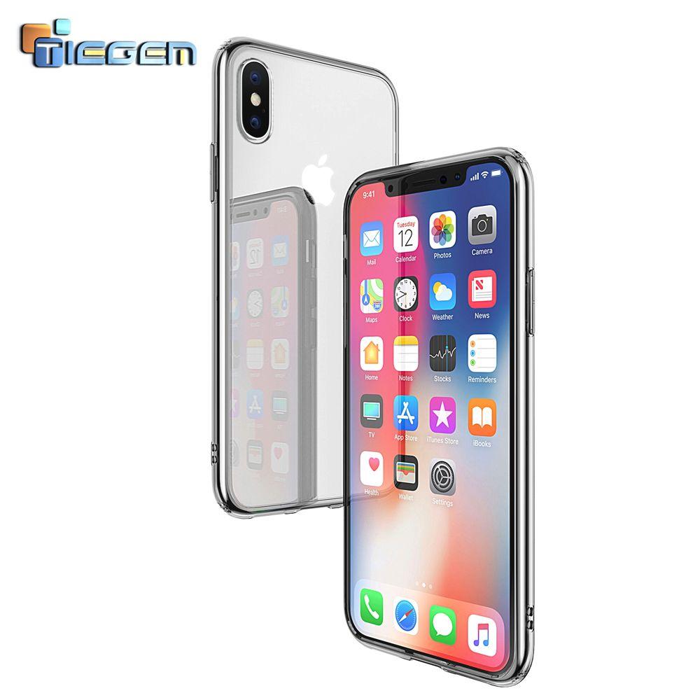 TIEGEM Téléphone Cas pour iPhone X TPU + ARC Molle Claire cadre Transparent Silicone Hybride Cas pour Apple iPhone 10 2017 Cas couverture