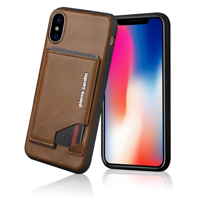 Pierre Cardin Phone Cases For iPhone X Hard Cover Luxury Genuine Leather Case For Apple iPhone X Back Card Holder Stand Case