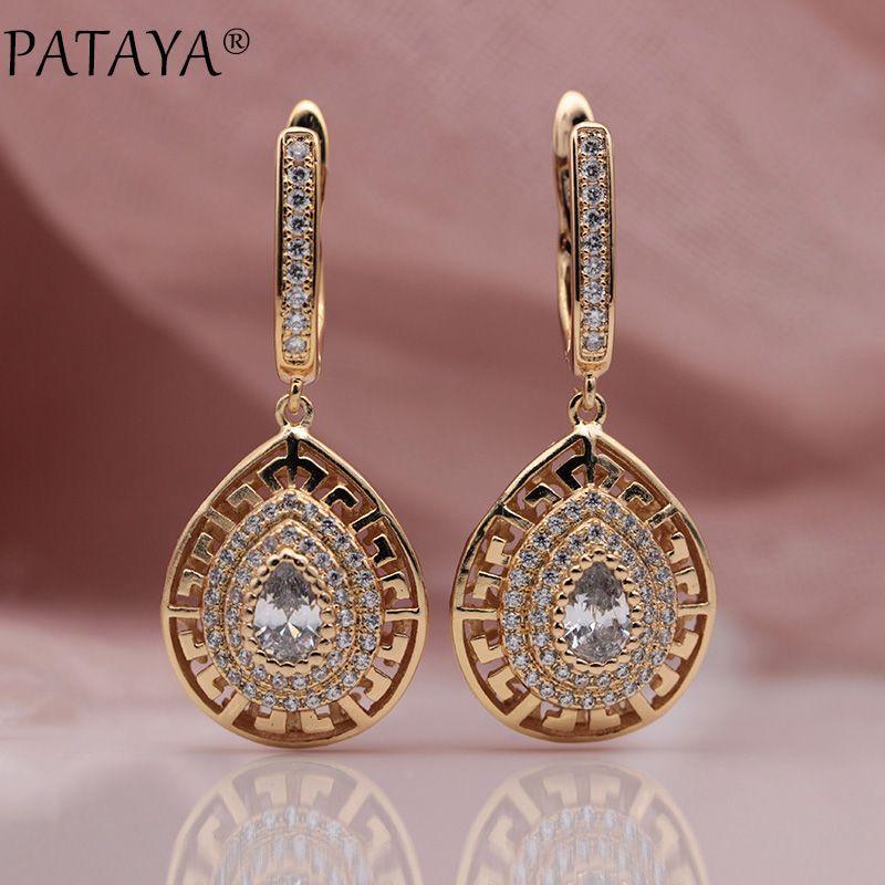 PATAYA New 585 Rose Gold Water Drop Natural Zircon Long Dangle Earrings Women Girls Gift Wedding Party Fine Cute Earring Jewelry