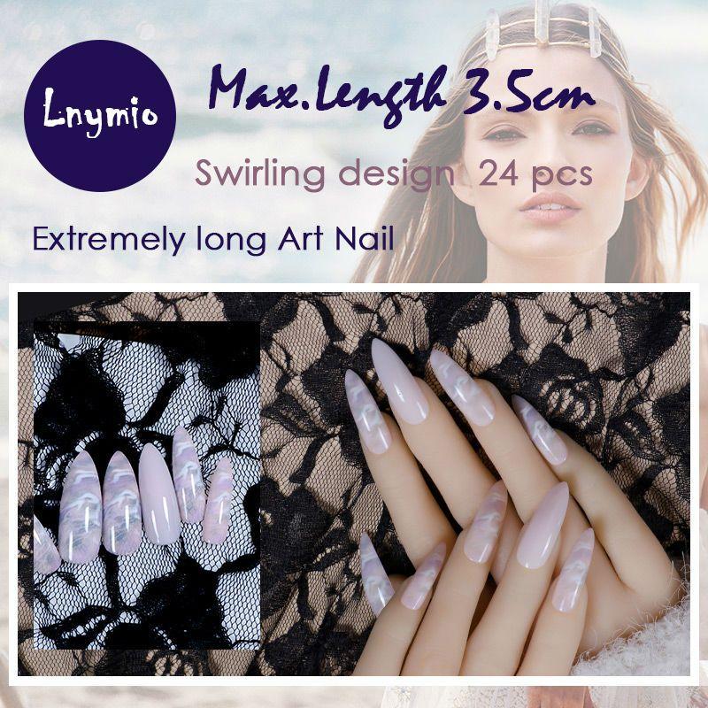 Extrem lange Art Nails wirbelnde muster falsche nägel 24 stücke