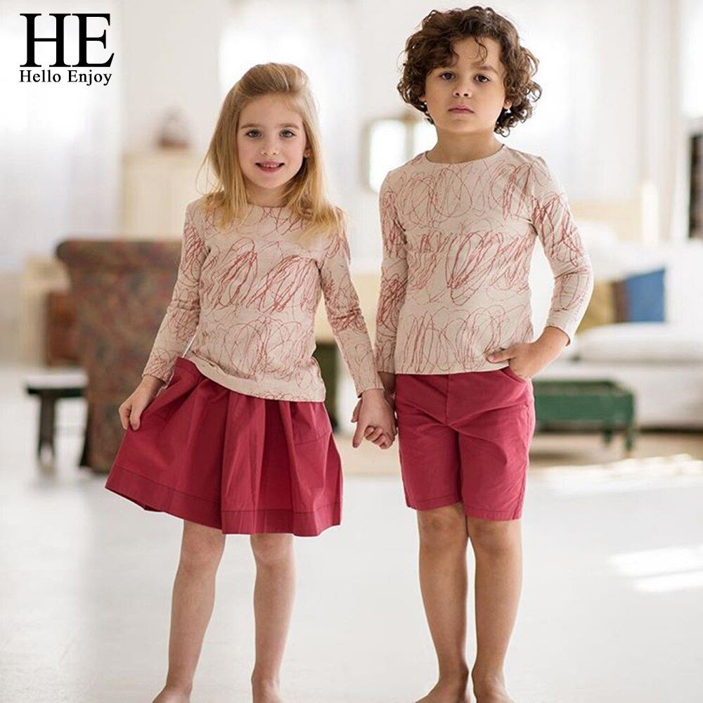 HE Hello Enjoy Family Clothing Sister And Brother Long Sleeve Print Graffiti T-shirt+Red Skirt&Shorts Family Matching Clothes