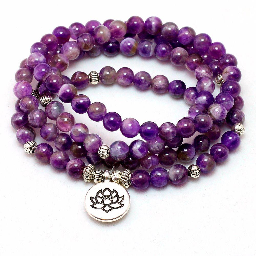 Natural Purple Crystal Chakra 108 Buddha Mala Bracelet or Necklace Yoga Mala Stone Bracelet for Women  Lotus Jewelry