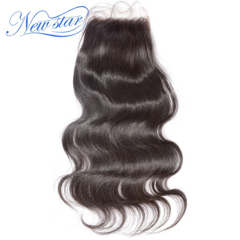 New Star Hair Lace Body Wave 4''x4'' Free Part Closures Peruvian Virgin Human Hair Medium Brown Swiss Lace With Baby Hair