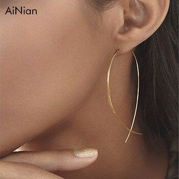 AiNian En Forme de Poisson Boucles D'oreilles Simplicité Fil De Cuivre Fait Main Boucle D'oreille Pour Les Femmes Brincos De Gota Feminino 2018 Géométrique Nouveau