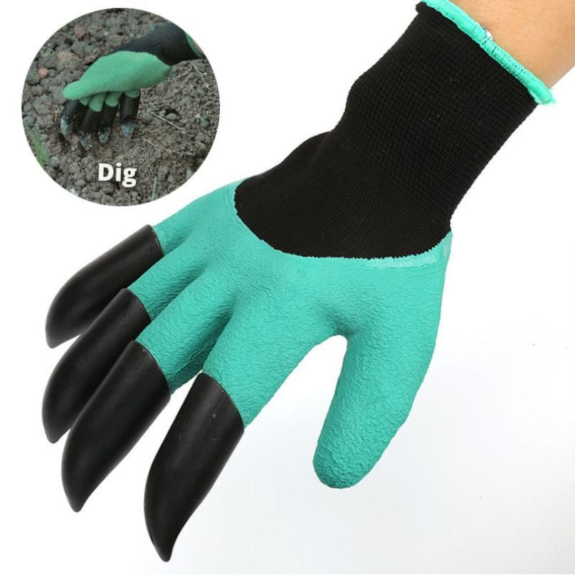 2017 Garden Gloves with 4 ABS Plastic Claws for garden Digging Planting  1 pair Drop